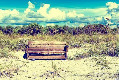 Wooden Bench overlooking a Florida wild Beach-Philippe Hugonnard-Photographic Print