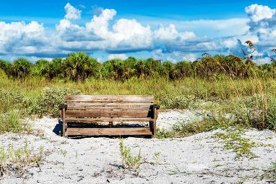 Wooden Bench overlooking a Florida wild Beach-Philippe Hugonnard-Photographic Print