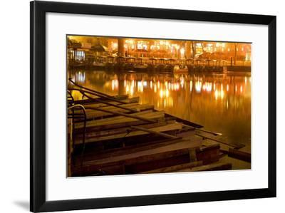 Wooden Boats on Houhai Lake with Lights of Bars and Restaurants in Background, Beijing, China-William Perry-Framed Photographic Print
