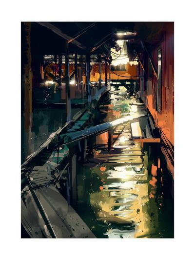 Wooden Bridge across Canals in Fishing Village,Digital Painting,Illustration-Tithi Luadthong-Art Print