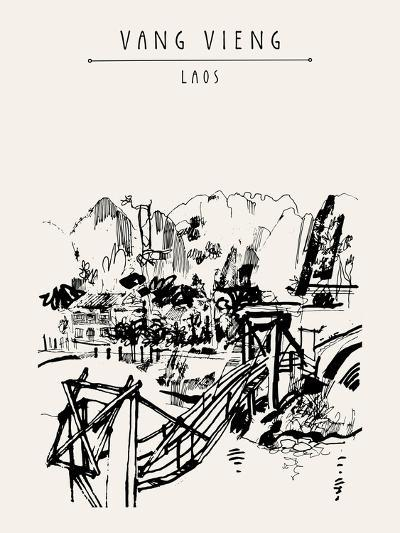 Wooden Bridge, Mountains, Riverside and a Guesthouse in Vang Vieng, Laos, Southeast Asia. Vintage H-babayuka-Art Print