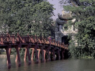 Wooden Bridge, Swan Lake, Hanoi, Vietnam-Keren Su-Photographic Print