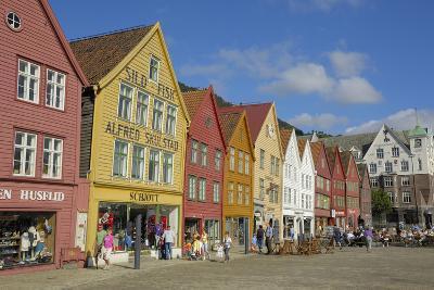 Wooden Buildings on the Waterfront, Bryggen, Vagen Harbour, UNESCO Site, Bergen, Hordaland, Norway-Gary Cook-Photographic Print