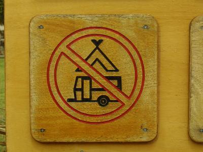 Wooden Camping Prohibited Sign--Photographic Print