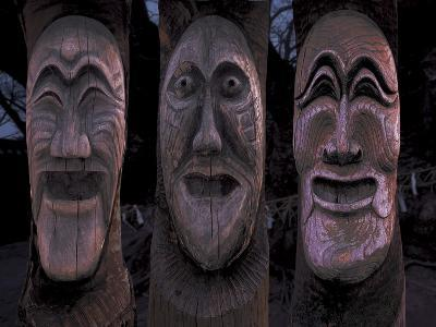Wooden Carved Face Masks--Photographic Print