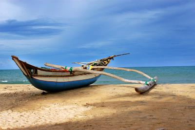 Wooden Catamaran by the Sea Shore-Juavenita Alphonsus-Photographic Print