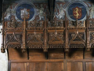 Wooden Choir Stalls in Chamber of Marguerite of Foix, Casa Cavassa, Saluzzo, Piedmont, Italy--Photographic Print