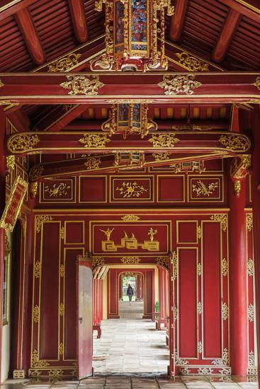 Wooden covered walkways in the Hue Imperial City (Citadel), UNESCO World Heritage Site, Vietnam, In-Alex Robinson-Photographic Print
