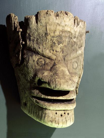 Wooden death mask, Eskimo or Aleut, Aleutian Islands-Werner Forman-Photographic Print