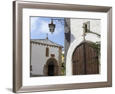 Wooden Door of St. Peter's Church (Igreja De Sao Pedro) in the Walled Medieval Town of Obidos, Estr-Stuart Forster-Framed Photographic Print