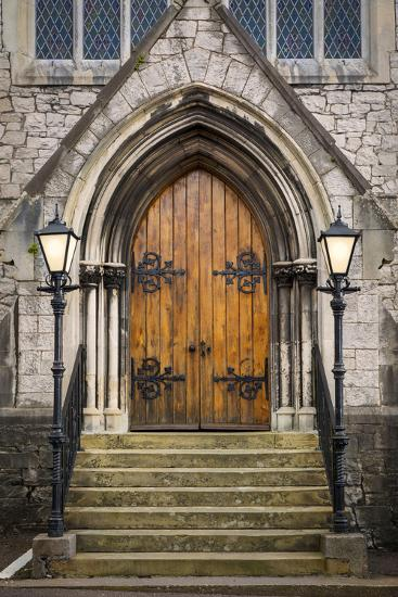 Wooden Doors at Entrance to Trinity Presbyterian Church, Cork, Ireland-Brian Jannsen-Photographic Print