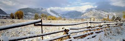Wooden Fence Covered with Snow at the Countryside, Colorado, USA--Photographic Print