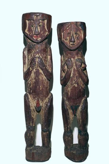 Wooden figures of men and women from north-east Peru-Unknown-Giclee Print