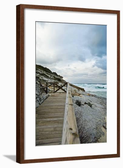 Wooden Footbridge at the Coast-Norbert Schaefer-Framed Photographic Print