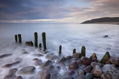 Wooden Groyne on Porlock Beach, Exmoor, Somerset, England. Summer-Adam Burton-Photographic Print