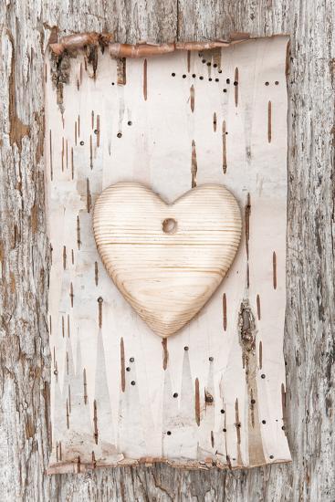 Wooden Heart with Birch Bark on the Old Wood-darkbird-Photographic Print