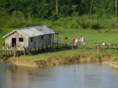 Wooden House with Plants and a Garden in the Breves Narrows in the Amazon Area of Brazil-Ken Gillham-Photographic Print
