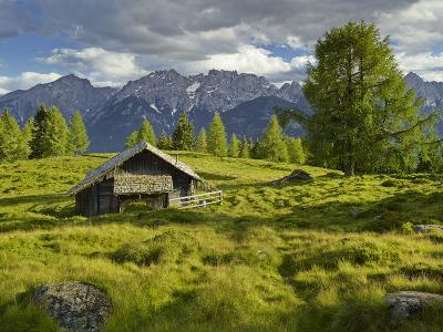 Wooden Hut on the Winkleralm, Lienz Dolomites, East Tyrol, Tyrol, Austria-Rainer Mirau-Photographic Print