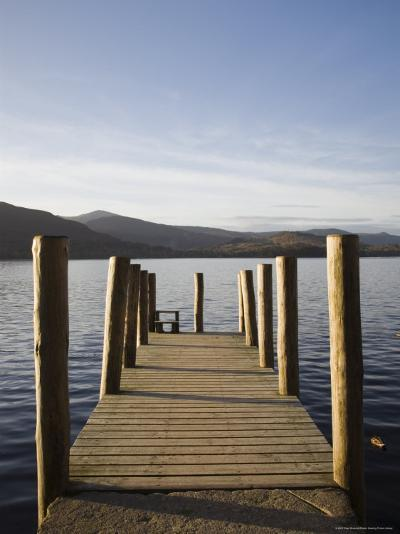 Wooden Jetty at Barrow Bay Landing on Derwent Water Looking North West in Autumn-Pearl Bucknall-Photographic Print