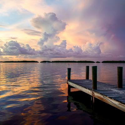 Wooden Jetty at Sunset-Philippe Hugonnard-Photographic Print