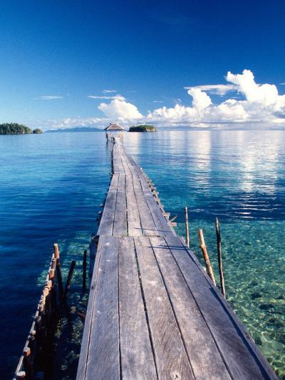 Wooden Jetty Extending off Kadidiri Island, Togian Islands, Sulawesi-Jay Sturdevant-Photographic Print