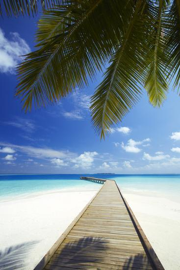 Wooden Jetty Out to Tropical Sea, Maldives, Indian Ocean, Asia-Sakis Papadopoulos-Photographic Print