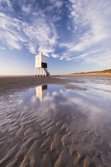 Wooden Lighthouse on Burnham Beach at Low Tide, Burnham-On-Sea, Somerset, England. Winter-Adam Burton-Photographic Print