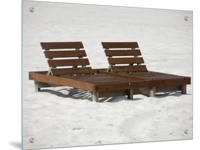 Wooden Lounge Chairs on the Beach in AlabamaBy R.S. & Wooden Lounge Chairs on the Beach in Alabama Art on Acrylic by RS