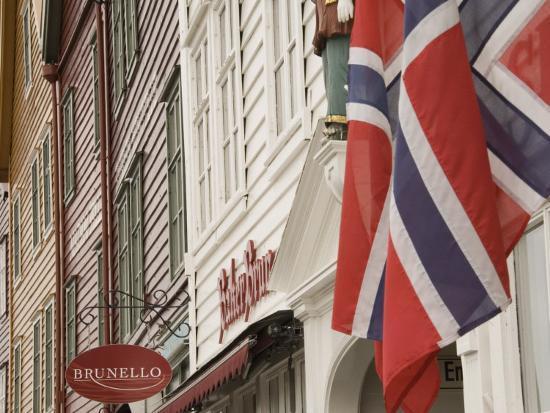 Wooden Merchants Premises and Norwegian Flag, Bryggen Old Harbour Side, Bergen, Norway, Scandinavia-James Emmerson-Photographic Print
