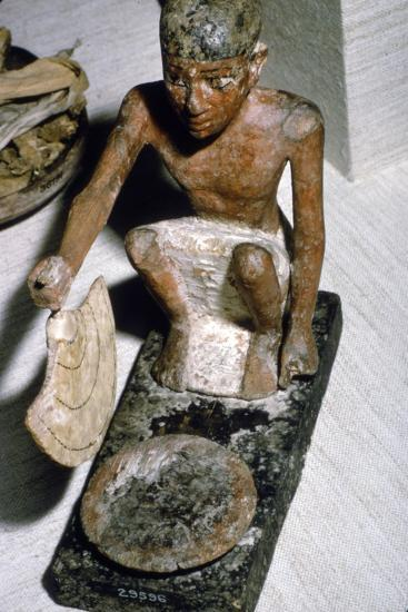 Wooden Model of Man fanning Fire, Egyptian Tomb Finding, c1900 BC-Unknown-Giclee Print