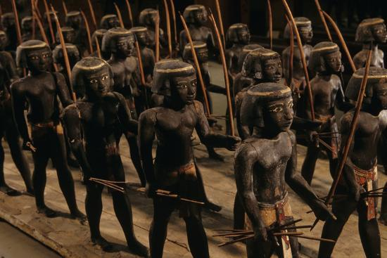 Wooden Nubian Archers from Tomb of Mesehti-Kenneth Garrett-Photographic Print