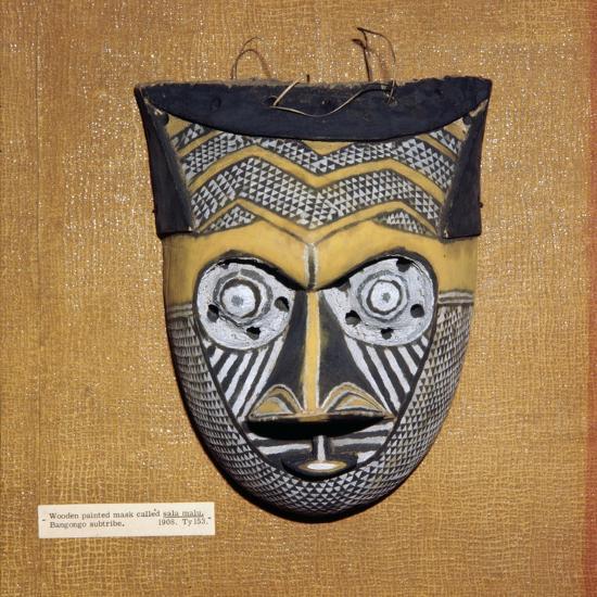 Wooden painted Sala Malu mask, Bangongo Tribe, Africa-Unknown-Giclee Print