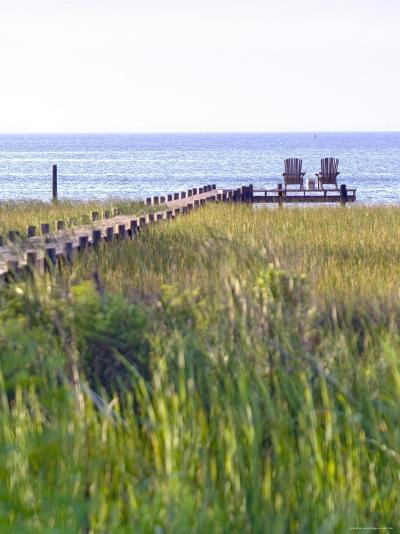 Wooden Pier and Chairs, Apalachicola Bay, Florida Panhandle, USA-John Coletti-Photographic Print