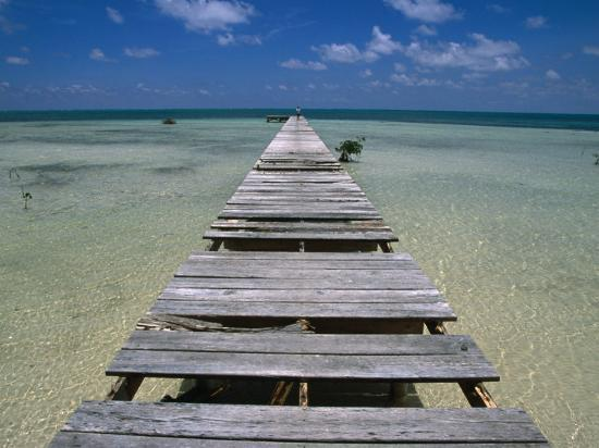 Wooden Pier with Broken Planks, Ambergris Caye, Belize-Doug McKinlay-Photographic Print