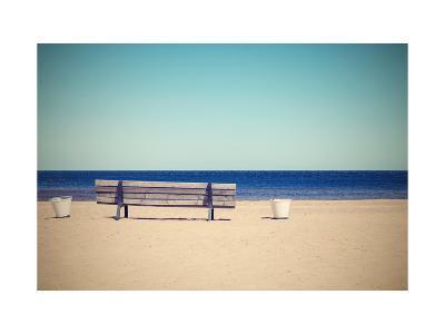 Wooden Retro Bench on the Sandy Beach Seashore-malven-Art Print