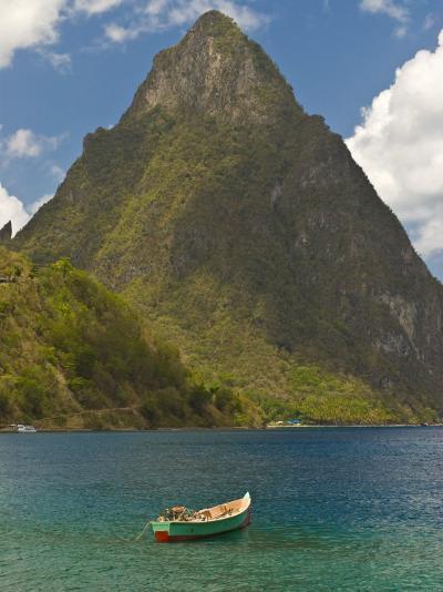 Wooden Rowboat Is Lying in Atlantic Ocean, St. Lucia, Windward Islands, West Indies, Caribbean-Michael Runkel-Photographic Print