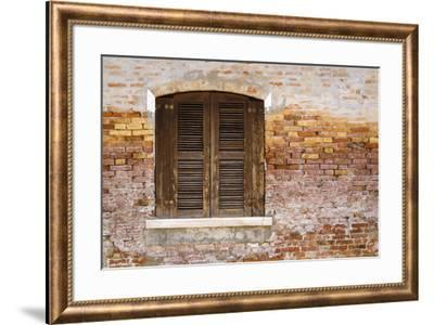 Wooden shutters and brick wall, Burano, Veneto, Italy-Russ Bishop-Framed Premium Photographic Print
