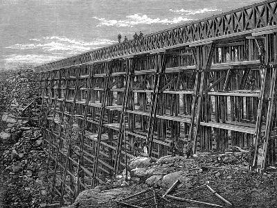 Wooden Trestle Bridge on the Union Pacific Railroad, Dale Creek, Wyoming, USA, 1869--Giclee Print