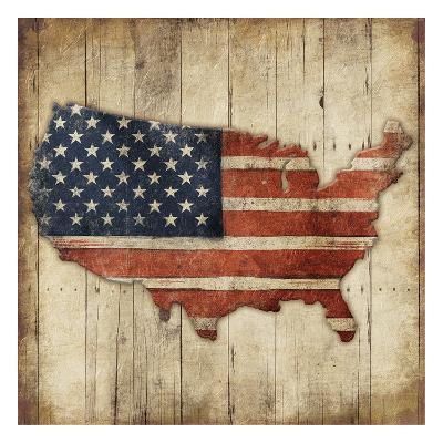 Wooden US Map-Jace Grey-Art Print