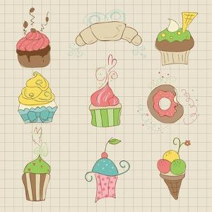 Set Of Cute Cupcakes And Desserts - For Design, Scrapbook, Invitation by woodhouse