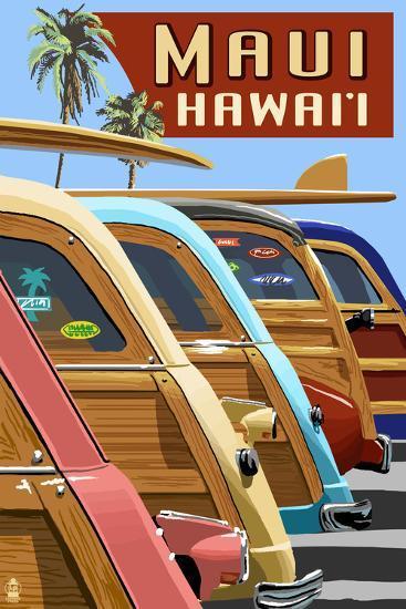 Woodies Lined Up - Maui, Hawaii-Lantern Press-Art Print