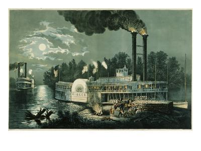 Wooding-up on the Mississippi-Currier & Ives-Giclee Print