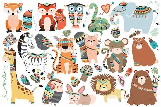 Woodland and Jungle Tribal Animals Isolated Vector Set- mckenna71-Art Print