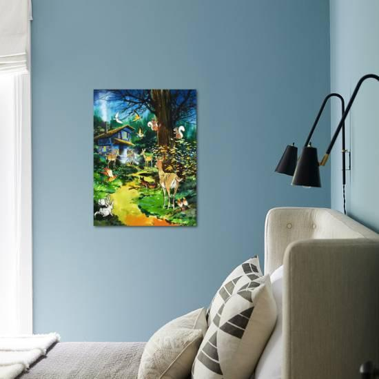 woodland theme decor ideas get the look at home.htm woodland animals visit a fairy house  giclee print jesus blasco  woodland animals visit a fairy house