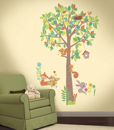 Woodland Creatures Tree Peel and Stick Giant Wall Decals