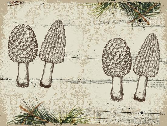 Woodland mushrooms--Giclee Print