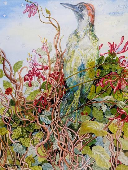 Woodpecker in the Honeysuckle, 2010-Joan Thewsey-Giclee Print