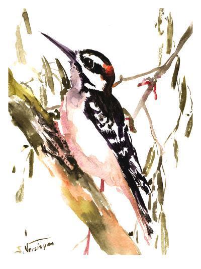 Woodpecker On Tree-Suren Nersisyan-Art Print