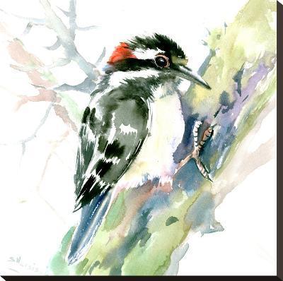 Woodpecker-Suren Nersisyan-Stretched Canvas Print