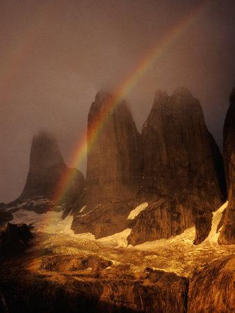 Rainbow Over Torres Del Paine (Towers of Paine), Torres Del Paine National Park, Chile